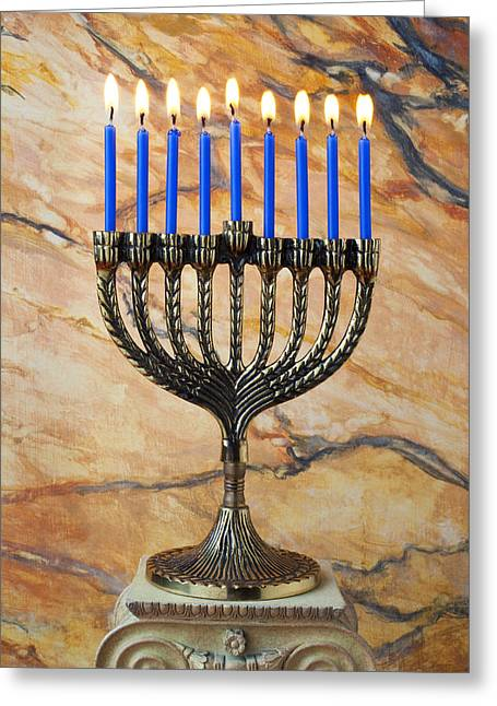 Religious Still Life Greeting Cards - Menorah with blue candles Greeting Card by Garry Gay