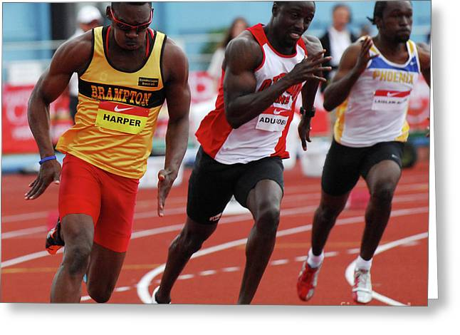 National Championship Greeting Cards - Mens 200 meter Greeting Card by Bob Christopher