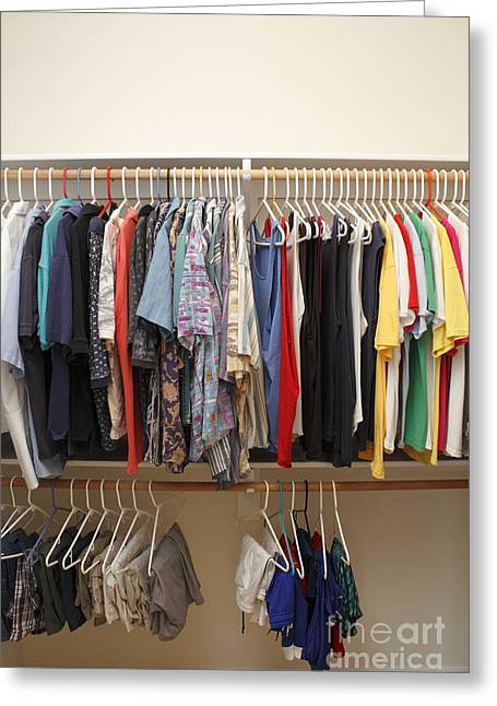 Polo Shirts Greeting Cards - Mens Clothes in a Closet Greeting Card by Lee Serenethos