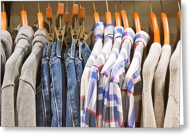 Rack Greeting Cards - Mens clothing Greeting Card by Tom Gowanlock