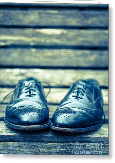 Park Benches Greeting Cards - Mens Dress Shoes on park bench Greeting Card by Edward Fielding