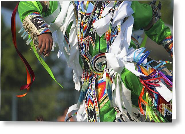 Traditional Dance Greeting Cards - Mens Grass Dancer in Green Greeting Card by Heidi Hermes