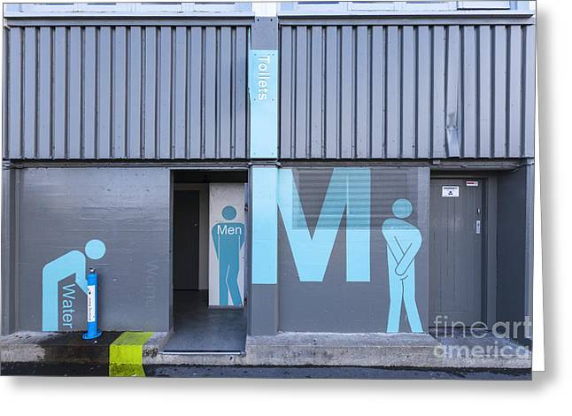 Men Drinking Greeting Cards - Mens Public Toilet Wellington NZ Greeting Card by Colin and Linda McKie