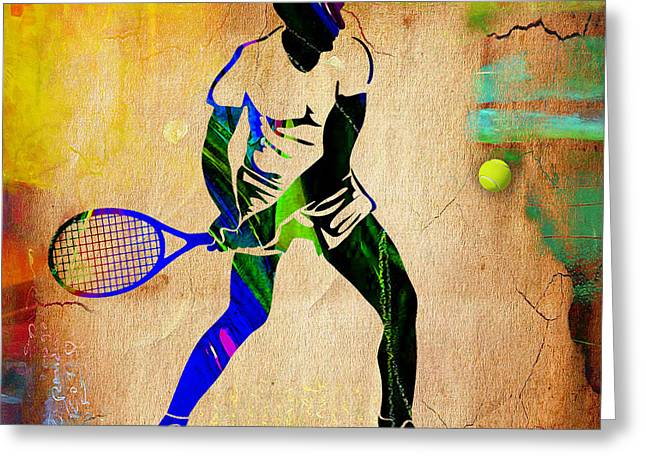 Tennis Match Mixed Media Greeting Cards - Mens Tennis Painting Greeting Card by Marvin Blaine