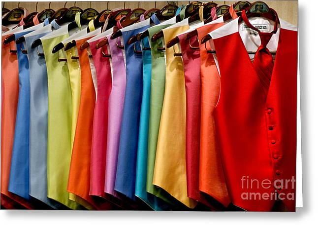 Wedding Greeting Cards - Mens Tuxedo Vests in a Rainbow of Colors Greeting Card by Amy Cicconi