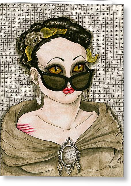 Morph Drawings Greeting Cards - Meow Greeting Card by Julie McDoniel