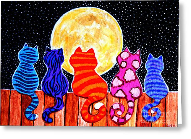 Colorful Animal Art Greeting Cards - Meowing at Midnight Greeting Card by Nick Gustafson