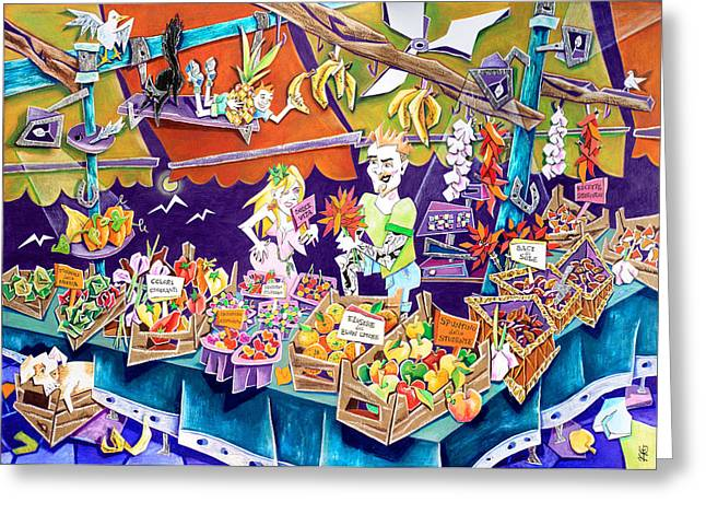 Venice Pastels Greeting Cards - MeRCaNTi di SaPoRi - Mercato di Rialto - Venice Fruit Market Greeting Card by Arte Venezia