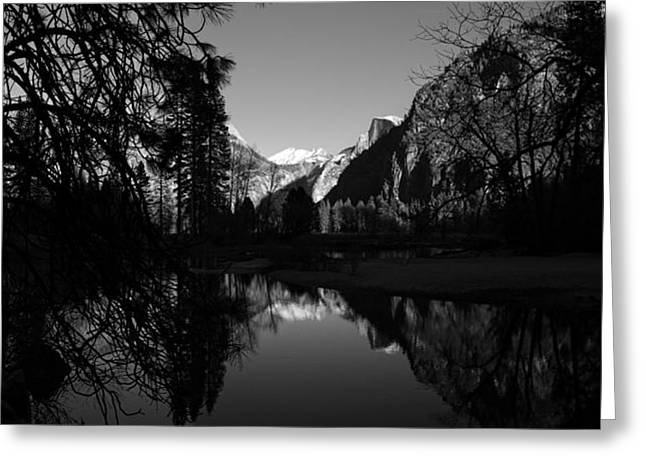 Winter Travel Greeting Cards - Merced River Black and White Reflection Greeting Card by Scott McGuire