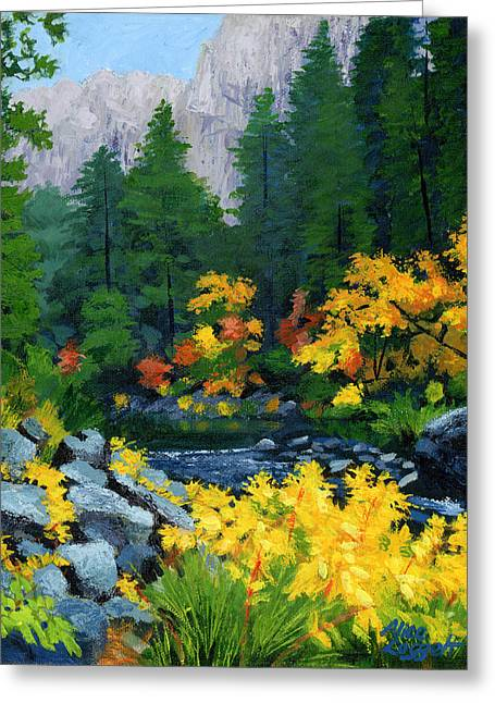 Yellow Leaves Greeting Cards - Merced River in Autumn Greeting Card by Alice Leggett