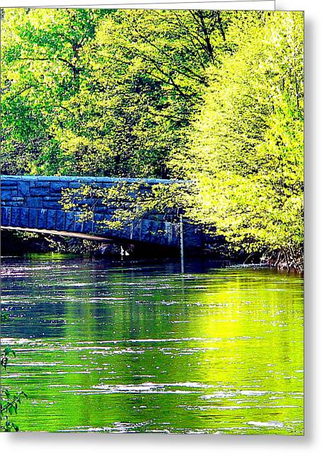 Reflections Of Sky In Water Greeting Cards - Merced River Sentinel Bridge Greeting Card by Jeff Lowe
