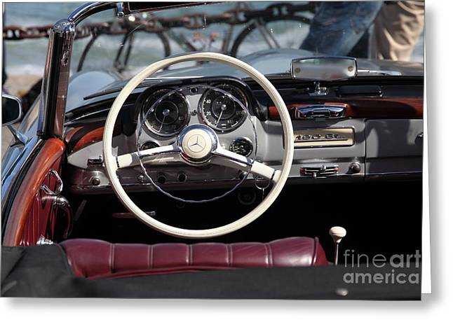 Dash-board Greeting Cards - Mercedes 190 SL 5D21650 Greeting Card by Wingsdomain Art and Photography
