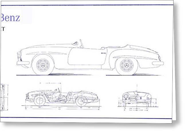 Mercedes 190sl Cabriolet Blueprint Greeting Card by Jon Neidert