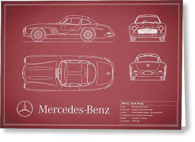 Gullwing Greeting Cards - Mercedes 300 sl Blueprint - Red Greeting Card by Mark Rogan