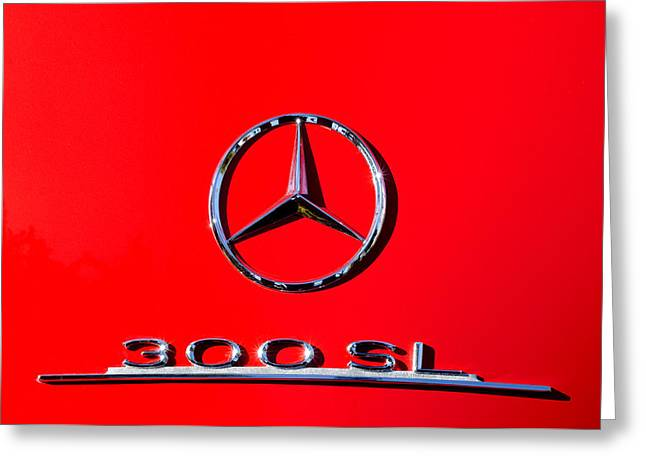 Mercedes 300 Sl Emblem -0121c Greeting Card by Jill Reger