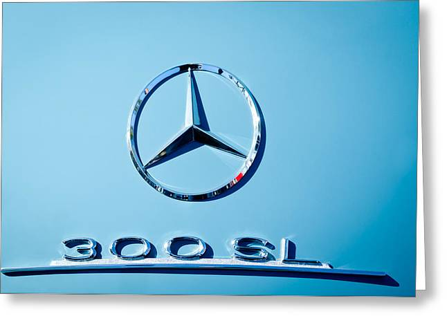 Mercedes 300 Sl Emblem -0190c Greeting Card by Jill Reger