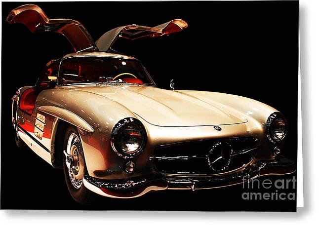 Wingsdomain Greeting Cards - Mercedes 300SL Gullwing . Front Angle Black BG Greeting Card by Wingsdomain Art and Photography