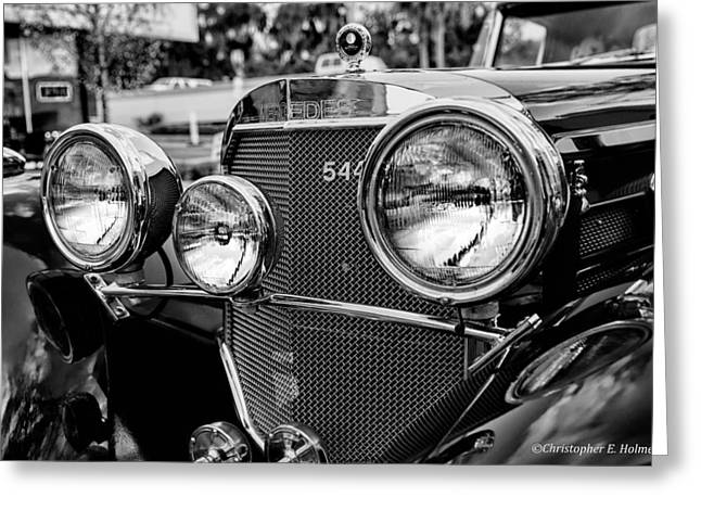 Mercedes 544k Grille - Bw Greeting Card by Christopher Holmes