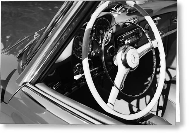 Best Images Photographs Greeting Cards - Mercedes-Benz 190SL Steering Wheel Greeting Card by Jill Reger
