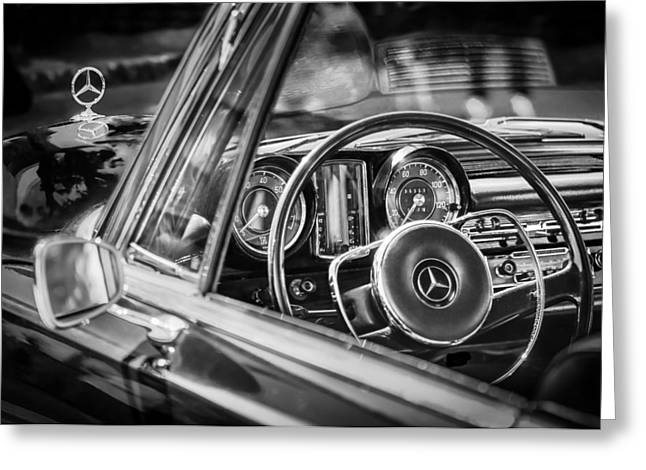 Steering Wheel Greeting Cards - Mercedes-Benz 250 SE Steering Wheel Emblem Greeting Card by Jill Reger