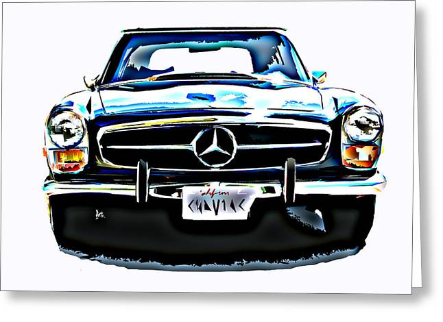 Sheats Greeting Cards - Mercedes Benz 280SL Roadster Greeting Card by Samuel Sheats