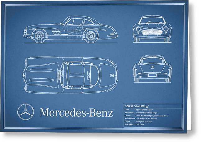 Mercedes 300sl Gullwing Greeting Cards - Mercedes Benz 300 sl Blueprint Greeting Card by Mark Rogan