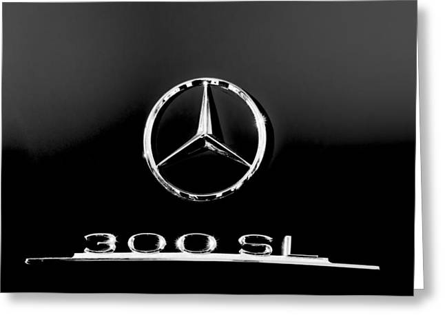 Mercedes-benz 300 Sl Emblem -0121bw Greeting Card by Jill Reger