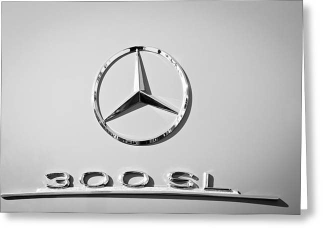 Mercedes-benz 300 Sl Emblem -0190bw Greeting Card by Jill Reger