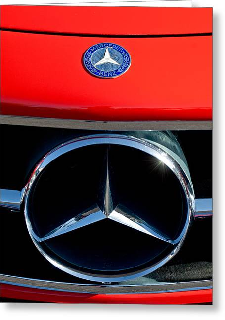 Mercedes Benz 300 Classic Car Greeting Cards - Mercedes-Benz 300 SL Grille Emblem Greeting Card by Jill Reger
