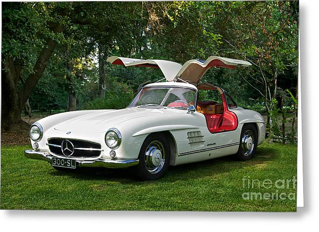 Rally Greeting Cards - Mercedes Benz 300 SL Gullwing Greeting Card by Dave Koontz