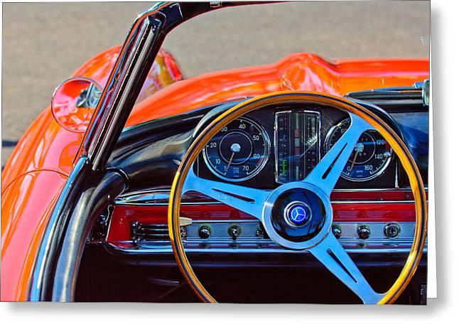 Mercedes Benz 300 Classic Car Greeting Cards - Mercedes-Benz 300 SL Steering Wheel Emblem Greeting Card by Jill Reger