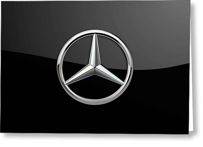 Man Cave Greeting Cards - Mercedes-Benz - 3D Badge on Black Greeting Card by Serge Averbukh