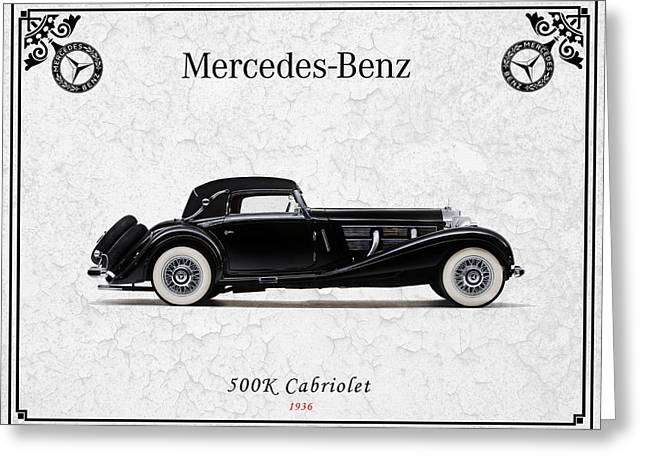 Mercedes Greeting Cards - Mercedes-Benz 500K 1936 Greeting Card by Mark Rogan