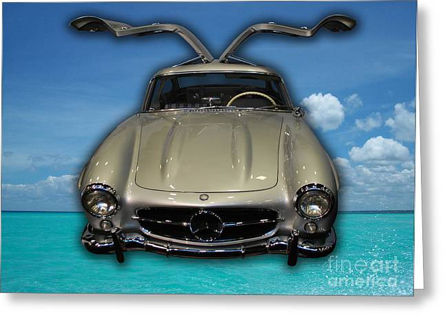 Mercedes 300sl Gullwing Greeting Cards - Mercedes Benz Flys Over Perfect Turquoise Blue Greeting Card by Heather Kirk
