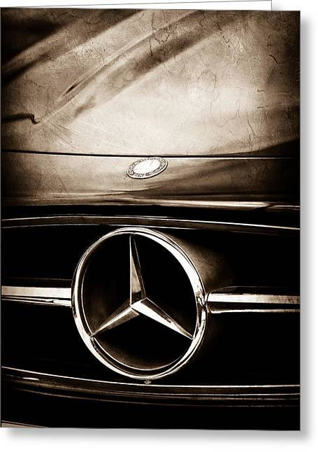 Car Photography Greeting Cards - Mercedes-Benz Grille Emblem Greeting Card by Jill Reger