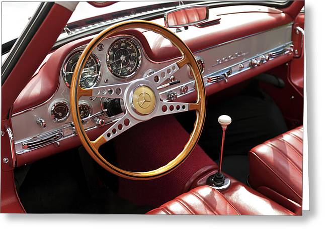 Recently Sold -  - Steering Greeting Cards - Mercedes Benz Gullwing 1956 Greeting Card by Maj Seda