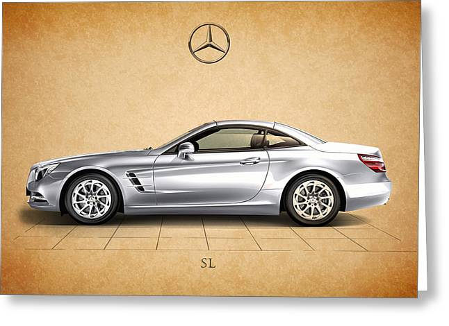 Cars Greeting Cards - Mercedes Benz SL Greeting Card by Mark Rogan