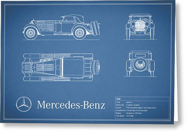 Gullwing Greeting Cards - Mercedes Benz SSK Blueprint Greeting Card by Mark Rogan