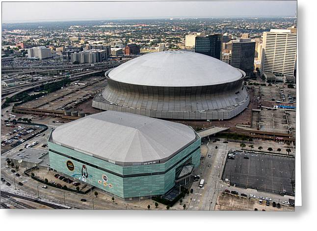 Tulane Greeting Cards - Mercedes-Benz Superdome Greeting Card by Nomad Art And  Design