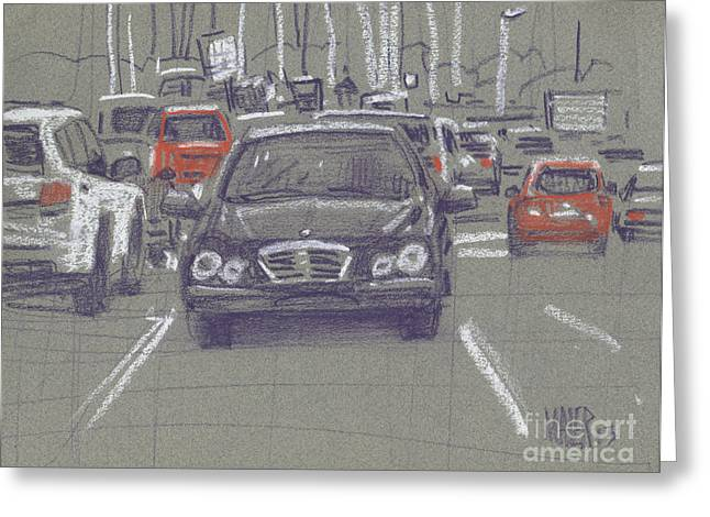 Car Park Greeting Cards - Mercedes Greeting Card by Donald Maier