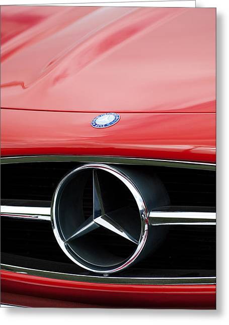 Mercedes Benz 300 Greeting Cards - Mercedes Grille Emblem1958 Mercedes-Benz 300SL Roadster Grille Emblem Greeting Card by Jill Reger