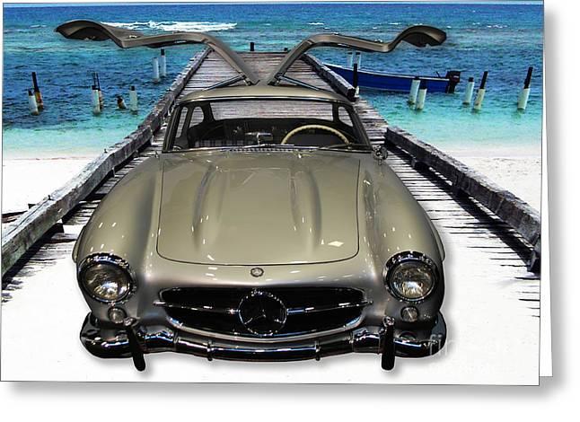 Mercedes 300sl Gullwing Greeting Cards - Mercedes Benz on Landing Strip Greeting Card by Heather Kirk