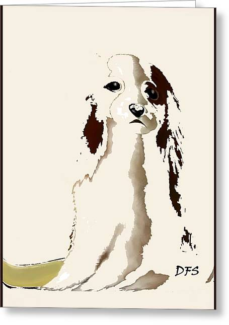 Puppy Digital Art Greeting Cards - Mercedes  - Our Cavalier King Charles Spaniel  No. 9 Greeting Card by Diane Strain