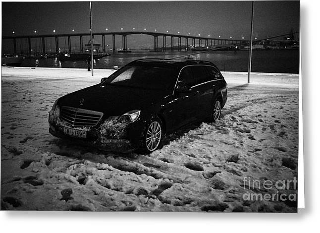 Winter Night Greeting Cards - mercedes taxi on the quay in snow on a winters night in Tromso troms Norway europe Greeting Card by Joe Fox
