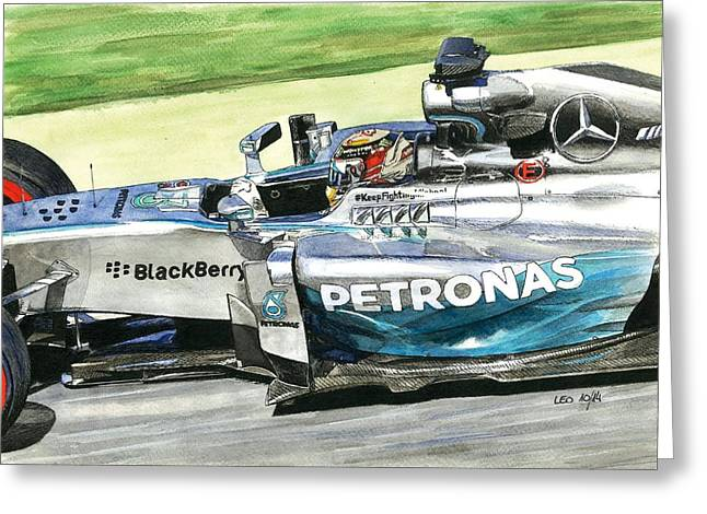 Acuarelas Greeting Cards - Mercedes W05 Hybrid Greeting Card by Leonardo Baigorria