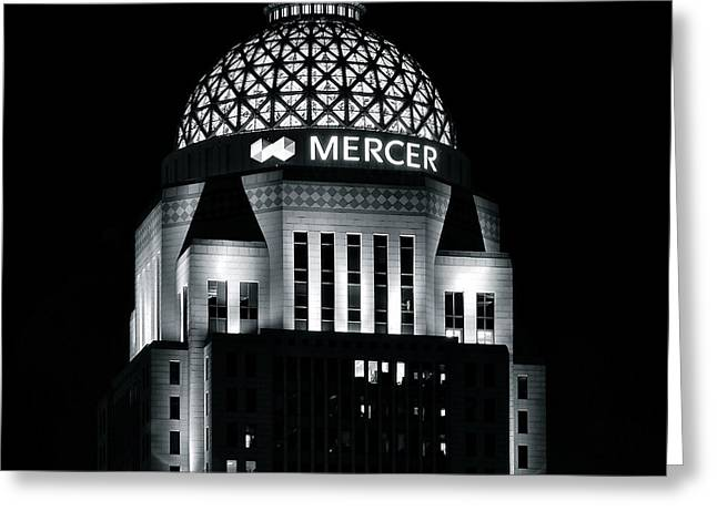 Baseball And Glove Greeting Cards - Mercer Building in Black and White Greeting Card by Frozen in Time Fine Art Photography