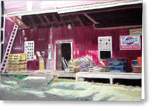 Flour Pastels Greeting Cards - Mercer Mill Loading Dock Greeting Card by Marianne Miles