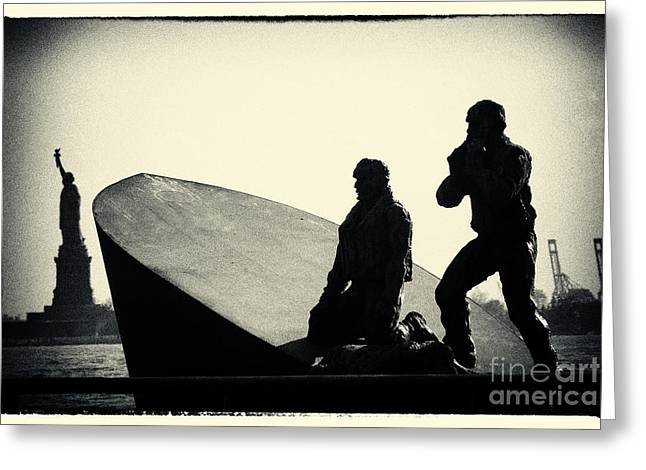 Filmnoir Greeting Cards - Merchant Mariners Memorial and Statue of Liberty New York City Greeting Card by Sabine Jacobs