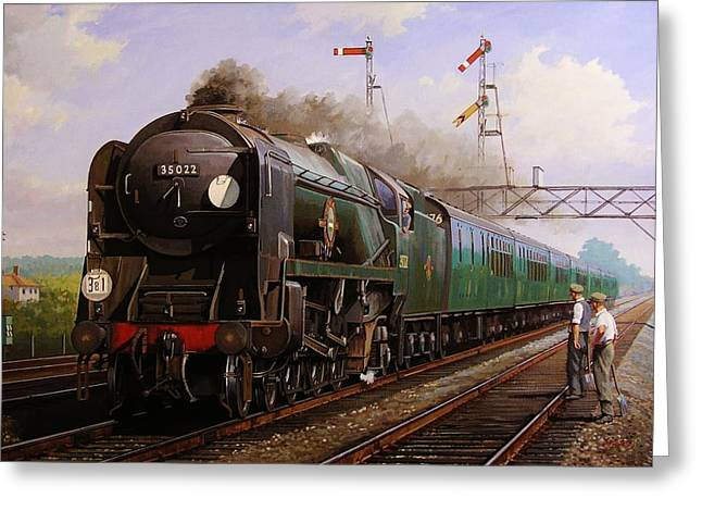 Vintage Painter Greeting Cards - Merchant Navy pacific at Brookwood. Greeting Card by Mike  Jeffries
