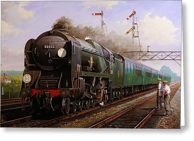Steam Locomotive Greeting Cards - Merchant Navy pacific at Brookwood. Greeting Card by Mike  Jeffries